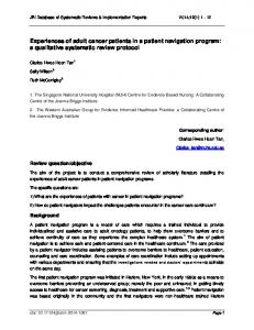 Experiences of adult cancer patients in a patient navigation program: a qualitative systematic review protocol