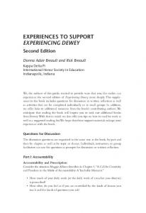 EXPERIENCES TO SUPPORT EXPERIENCING DEWEY