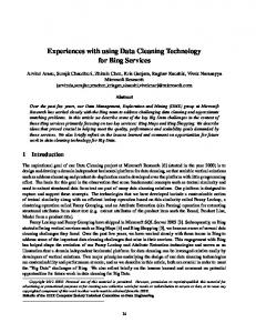 Experiences with using Data Cleaning Technology for Bing Services