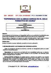 EXPERIENCIA CON ALUMNAS SORDAS EN EL CICLO FORMATIVO DE COCINA