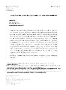 Experiencia del paciente politraumatizado y sus consecuencias