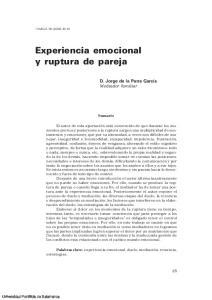 Experiencia emocional y ruptura de pareja
