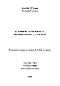 EXPERIENCIAS DE VIVIENDA SOCIAL