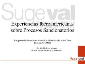 Experiencias Iberoamericanas sobre Procesos Sancionatorios