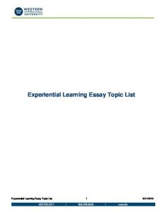 Experiential Learning Essay Topic List
