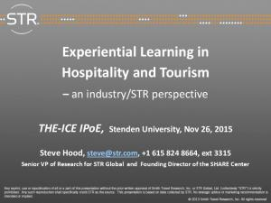 Experiential Learning in Hospitality and Tourism