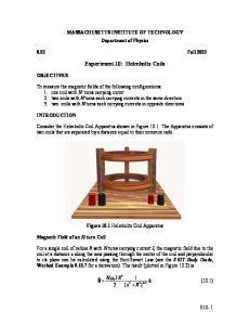 Experiment 10: Helmholtz Coils