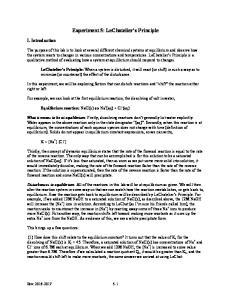 Experiment 5: LeChatelier s Principle