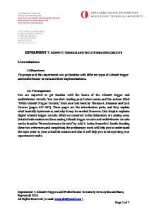 EXPERIMENT 7. SCHMITT TRIGGER AND MULTIVIBRATOR CIRCUITS