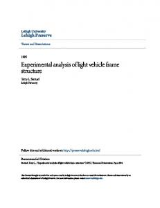 Experimental analysis of light vehicle frame structure