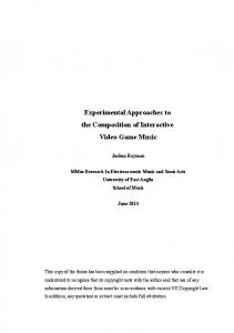 Experimental Approaches to the Composition of Interactive Video Game Music