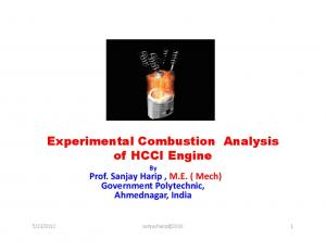 Experimental Combustion Analysis of HCCI Engine By