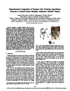 Experimental Comparison of Human Gait Tracking Algorithms: Towards a Context-Aware Mobility Assistance Robotic Walker