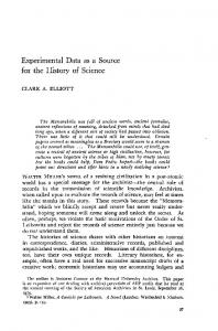 Experimental Data as a Source for the History of Science