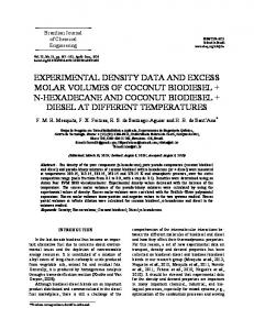 EXPERIMENTAL DENSITY DATA AND EXCESS MOLAR VOLUMES OF COCONUT BIODIESEL + N-HEXADECANE AND COCONUT BIODIESEL + DIESEL AT DIFFERENT TEMPERATURES