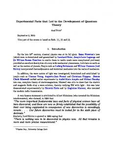 Experimental Facts that Led to the Development of Quantum Theory