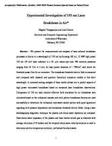 Experimental Investigation of 193 nm Laser. Breakdown in Air*