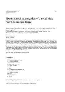 Experimental investigation of a novel blast wave mitigation device