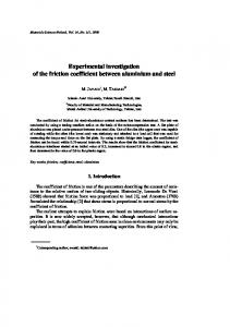 Experimental investigation of the friction coefficient between aluminium and steel