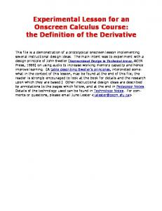 Experimental Lesson for an Onscreen Calculus Course: the Definition of the Derivative