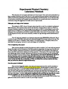 Experimental Physical Chemistry Laboratory Notebook