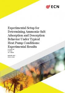 Experimental Setup for Determining Ammonia-Salt Adsorption and Desorption Behavior Under Typical Heat Pump Conditions: Experimental Results