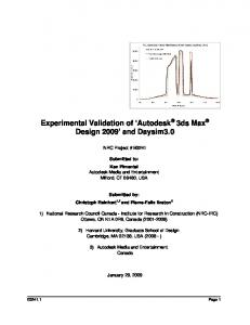 Experimental Validation of Autodesk. 3ds Max Design 2009 and Daysim3.0