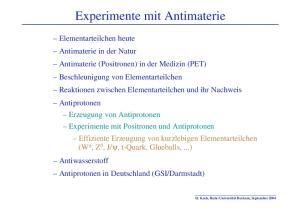 Experimente mit Antimaterie