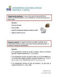 EXPERIMENTO ALEATORIO, ESPACIO MUESTRAL Y SUCESO