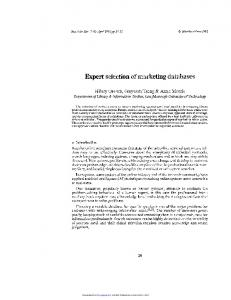 Expert selection of marketing databases