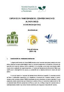 EXPERTO EN TRASTORNOS DEL COMPORTAMIENTO ALIMENTARIO
