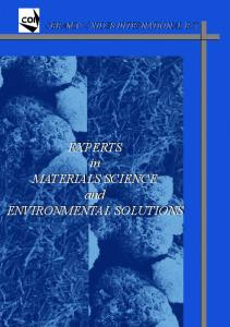 EXPERTS in MATERIALS SCIENCE and ENVIRONMENTAL SOLUTIONS