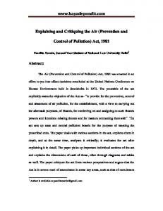 Explaining and Critiquing the Air (Prevention and Control of Pollution) Act, 1981
