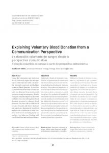 Explaining Voluntary Blood Donation from a Communication Perspective