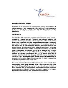 EXPLANATION TO THE AGENDA