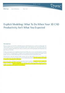 Explicit Modeling: What To Do When Your 3D CAD Productivity Isn t What You Expected