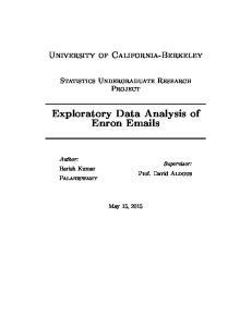 Exploratory Data Analysis of Enron  s