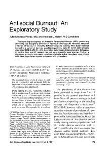 Exploratory Study. Antisocial Burnout: An