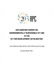 EXPLORATORY SURVEY ON ENVIRONMENTALLY SUSTAINABLE ICT USE IN THE ICT FOR DEVELOPMENT (ICTD) SECTOR