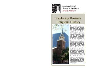 Exploring Boston s Religious History