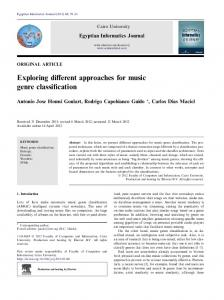 Exploring different approaches for music genre classification