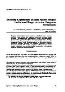 Exploring Explanations of State Agency Budgets: Institutional Budget Actors or Exogenous Environment?