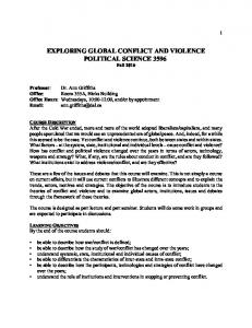 EXPLORING GLOBAL CONFLICT AND VIOLENCE POLITICAL SCIENCE 3596 Fall 2016