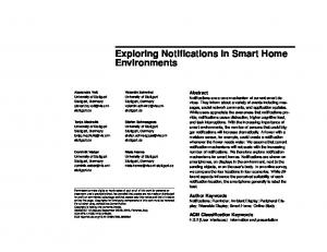 Exploring Notifications in Smart Home Environments
