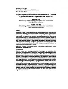 Exploring Organizational Consciousness: A Critical Approach towards Organizational Behavior