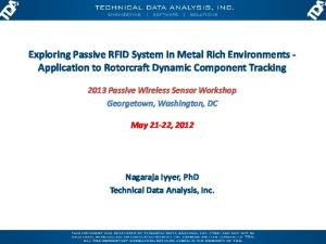 Exploring Passive RFID System in Metal Rich Environments - Application to Rotorcraft Dynamic Component Tracking