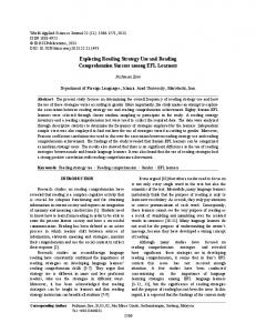 Exploring Reading Strategy Use and Reading Comprehension Success among EFL Learners
