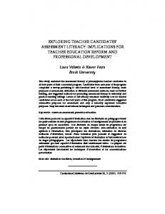 EXPLORING TEACHER CANDIDATES ASSESSMENT LITERACY: IMPLICATIONS FOR TEACHER EDUCATION REFORM AND PROFESSIONAL DEVELOPMENT