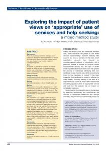 Exploring the impact of patient views on appropriate use of services and help seeking: