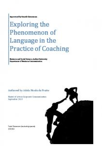 Exploring the Phenomenon of Language in the Practice of Coaching